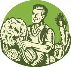 Ilustraci n de un tendero verde agricultor org nico cosechar vegetales de hojas verdes establecidas  Foto de archivo