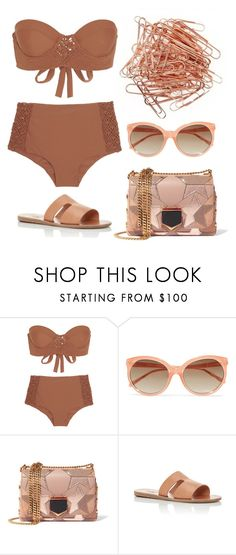 """Rose Gold"" by cherieaustin on Polyvore featuring Tori Praver Swimwear, Linda Farrow, Jimmy Choo and Missoni Mare"