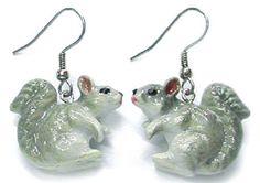 JE028 Little Critterz Grey Squirrel Earrings - Surgical Steel Porcelain Dangle