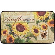 Delightful Sunflower Bee Kitchen Rug