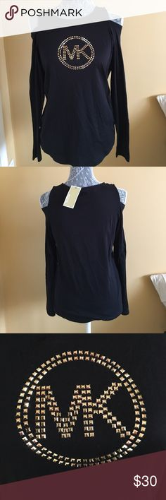 NWT Michael Kors Cold Shoulder Top NWT Michael Kors Cold Shoulder Top. Black w/gold studded logo on front. Size S MICHAEL Michael Kors Tops Tees - Long Sleeve