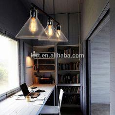vintage industriële helder glazen stolp en ijzer hendel glazen plafond lamp met edison lamp…
