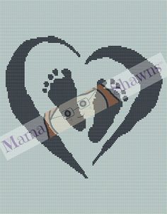 Baby Feet in Heart - Written Pattern, Crochet Pattern, New Baby, Baby Shower, Angel Baby, New Mom, Graphghan, Crochet Bedding, Crib Bedding by MamaShawns on Etsy