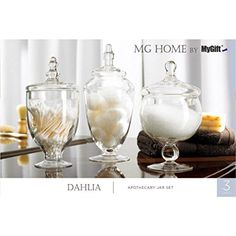 MyGift Clear Glass Apothecary Jars, Wedding Centerpiece, Candy Storage Bottles - 3 Piece >>> Special product just for you. : Home Decorative Accessories Apothecary Jars Wedding, Apothecary Jars Bathroom, Apothecary Decor, Glass Canisters, Glass Jars, Clear Glass, Mason Jars, Kitchen Canisters, Simple Bathroom