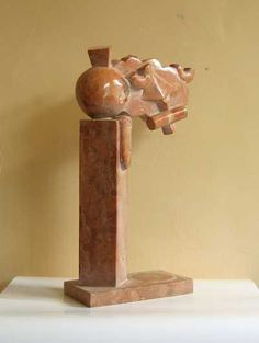Red marble Indoor Abstract #sculpture by #sculptor Giorgie Cpajak titled: 'Fantazy' #art