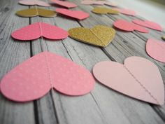 Pink gold glitter heart garland ombre pink by HoopsyDaisies, $16.00