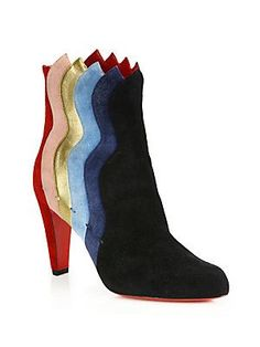 Christian Louboutin Suede Wavy Booties