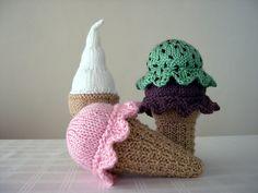 """Scooped"" - stuffed ice cream cone knitting pattern by Marcie Nischioka. Knitting Patterns Free, Knit Patterns, Free Knitting, Baby Knitting, Free Pattern, Knitting Club, Knitting Toys, Crochet Food, Knit Crochet"