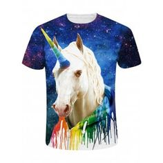 2018 New Summer Galaxy Rainbow Unicorn Paint Printed Unisex Fitness Short  Sleeve Women T Shirt Tops Vest Tees Men T-shirt. ef1619294305