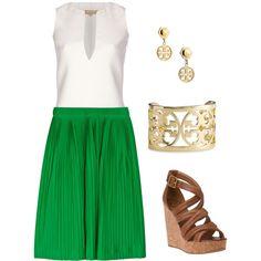 green skirt..love the TB bracelet and earrings! Dreaming of spring....