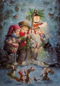 Natal com Juan Ferrandiz Castells - - Christmas with Juan Ferrandiz Castells ( 1918 - Vintage Christmas Images, Old Christmas, Christmas Scenes, Old Fashioned Christmas, Retro Christmas, Vintage Holiday, Christmas Carol, Christmas Pictures, Christmas Greetings