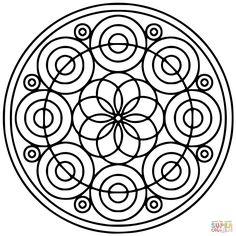Mandala with Hexagon and Circles Super Coloring Ornaments