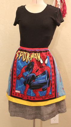 Spiderman Apron Handmade and OOAK by GenerationGap on Etsy Generation Gap, Aprons, Spiderman, Sewing, Handmade, Etsy, Spider Man, Hand Made, Couture