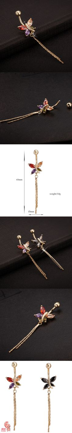 KUNIU New Fashion Woman's butterfly Belly Button Rings Bar Surgical Piercing Sexy Body Jewelry for Women Navel Piercing P0090