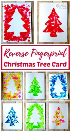 Reverse Fingerprint Christmas Tree Card via Rythms of Play || One of 10 amazing Christmas crafts kids can make for teachers, grandparents and friends! Super easy and very impressive looking! || Christmas Cards Kids Can Make: 10 More Inspiring Ideas! || Another fun Christmas post from Letters from Santa Holiday Blog