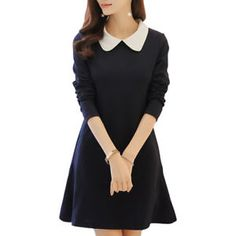Women Dress A Line One-Piece Frock Slim Dress with Long Sleeve Peter-pan Collar Korean Style Simple Frock Design, Girls Frock Design, Kids Frocks Design, Girls Top Design, Frocks For Teenager, Long Frocks For Girls, Elegant Summer Dresses, Simple Dresses, Casual Dresses