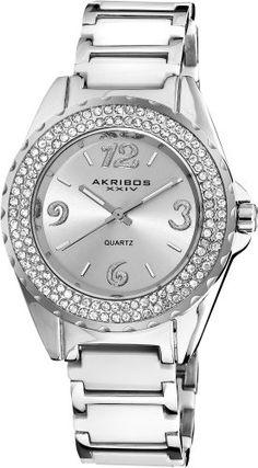 Akribos XXIV Women`s AK514WT Quartz Crystal Ceramic Bracelet Watch $72.45
