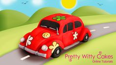 Learn to make this fab car cake in our online tutorial here https://www.prettywittycakes.co.uk/projects/vw-beetle-cake-project