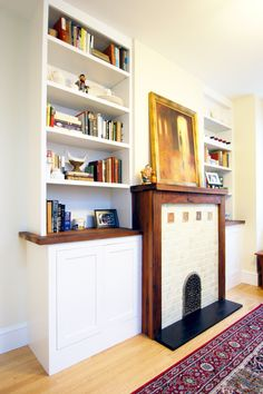 Redwood reclaimed from New York water towers find a new life as a mantel and bookcase.