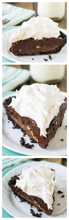 Mississippi Mud Pie- an oreo piecrust, 2 layers of chocolate, and a cool and creamy whipped topping make this icebox pie impossible to resist.