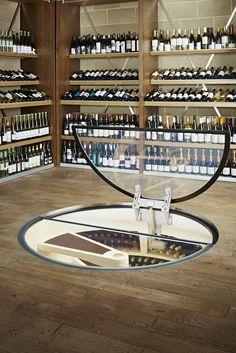 furniture, astonishing original wine cellar with rectangular glass