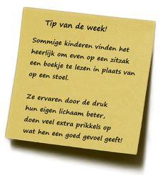Tip van de week 20-09-2012. Hoe zitzakken functioneren ten aanzien van kinderen. namens Jasia Janssen.