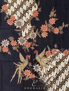Batik Tulis Pekalongan KA-BAT-PK-W-2703 – Engrasia Flower Patterns, Flower Designs, Fabric Design, Pattern Design, Indonesian Art, Batik Art, Batik Pattern, Batik Dress, Islamic Architecture
