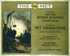 Poster, Metropolitan Railway. 'The Met - Travel by Met Through Trains' -baker street by PJ Wright. Printed by David Allen & Sons Ltd., Harrow & London. Format: quad royal. Dimensions: 40 x 50 inches, 1016 x 1270 mm.