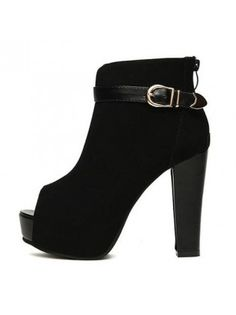 Buckled Peep Toe Black Suede Chunky Heel Ankle Boots