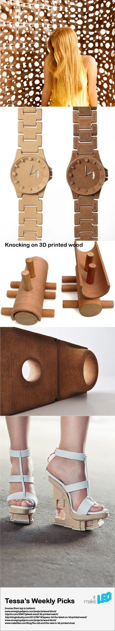 5 material experiments with 3D printed wood. Look how the applications and wood vary!
