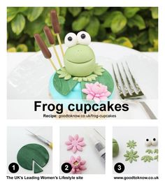 Step-by-step frog cupcake toppers