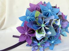 Origami Wedding Bouquet Paper Bouquet  Blue by KatherinaKrafts