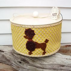 Vintage Sewing Basket Poodle Art Round Sewing Box by WhimzyThyme