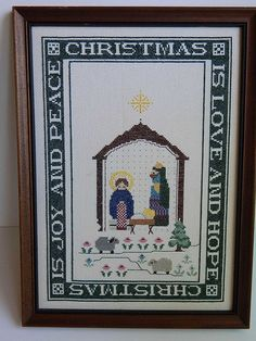 Completed Cross Stitch Christmas Is Love Hope Joy Peace Manger Nativity Sampler