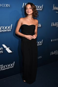 8 February Alicia Vikander was at The Hollywood Reporter Oscar Nominees Night in a black strapless jumpsuit. Alicia Vikander Oscars, Alicia Vikander Style, Black Strapless Jumpsuit, Strapless Dress Formal, Celebrity Pictures, Celebrity Style, A Royal Affair, Swedish Actresses, The Danish Girl