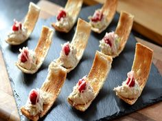 Nice serving idea: Danny Kingston serves up these pretty smoked mackerel canapés just in time for Christmas. These bites are all about balancing the rich smoked mackerel with light and sharp flavours of pickled ginger, cranberries and lime zest. Easy Canapes, Canapes Recipes, Pate Recipes, Appetizer Recipes, Cooking Recipes, Canapes Ideas, Nibbles Ideas, Finger Food Appetizers, Finger Foods