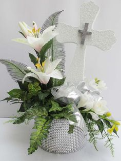 Cross, Florals in Rhinestone Base – Designs by Ginny Girl Baptism Centerpieces, Baptism Party Decorations, Communion Centerpieces, First Communion Decorations, Floral Centerpieces, Floral Arrangements, Shower Centerpieces, Sweet Table Decorations, Church Altar Decorations