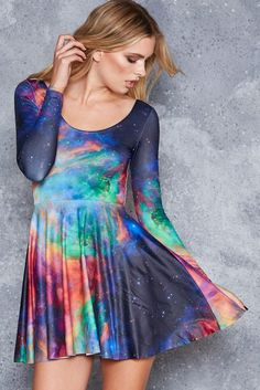 Galaxy Rainbow Long Sleeve Skater Dress