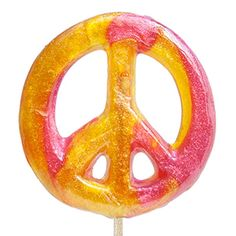 Peace Sign Lollipops: 24 Hard candy lollipops shaped like peace signs by Melville Candy