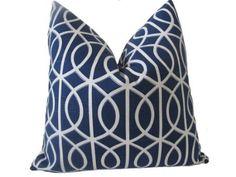 Amazon.com: Decorative Designer Pillow Cover-24x24 Trellis Chains In Indigo: Home & Kitchen