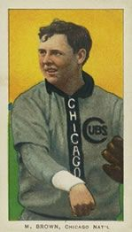 1909-11 The American Tobacco Company T206 White Border #57 Mordecai Brown (Chicago On Shirt) Front