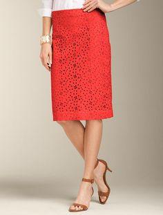 Flower Eyelet Pencil Skirt, Talbots $99