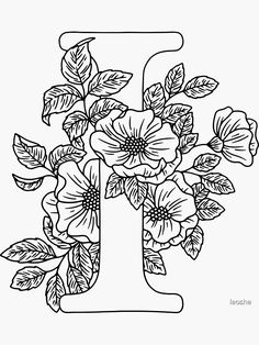 Flower Embroidery Designs, Hand Embroidery Patterns, Peony Drawing, Monogram Stickers, Floral Letters, Lettering Styles, Letter I, Free Coloring Pages, Alphabet