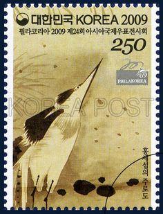 PHILAKOREA 2009 24th Asian International Stamp Exhibition Commemorative Stamps, Ibis, Bird, Brown, 2009 07 30, 필라코리아 2009 제24회 아시아국제우표전시회 기념우표, 2009년 7월 30일, 2689, 홍세섭의 주로도 1,2, postage 우표