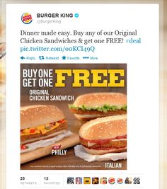 Second chicken sandwich free at Burger King coupon via The Coupons App