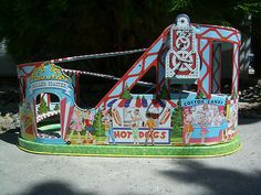 Vintage J Chein Co Tin Lithograph Roller Coaster Two Cars Child's Toy