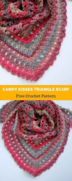 Amazing Picture of Crochet Triangle Pattern Crochet Triangle Pattern Candy Kisses Triangle Scarf Free Crochet Pattern All About Crochet Triangle Pattern, Crochet Stitches Patterns, Shawl Patterns, Crochet Prayer Shawls, Crochet Shawls And Wraps, Crochet Scarves, Easy Crochet Shawl, Crochet Cowls, Crochet Crafts