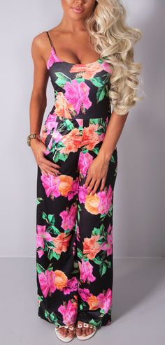 Pink Boutique Carmen multicolour floral wide leg #jumpsuit http://www.pinkboutique.co.uk/new-in/carmen-multicolour-floral-wide-leg-jumpsuit.html #pinkboutique