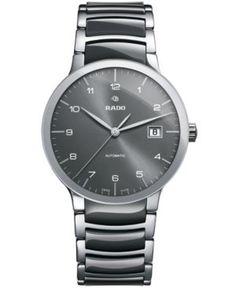 Rado Men's Swiss Automatic Centrix Gray High-Tech Ceramic and Stainless Steel Bracelet Watch 38mm R30939112