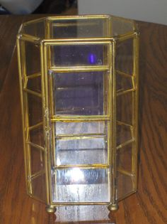 Glass and Brass Curio Table Top Display Mini Case Vintage